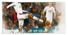 Chris Smalling  In Action  Beach Towel by Don Kuing