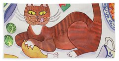 Christmas Cat And The Turkey Beach Towel by Cathy Baxter