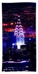 Chrysler Building At Night Beach Sheet by Az Jackson