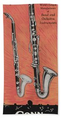 Clarinet And Giant Boehm Bass Beach Towel by American School