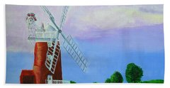 Beach Towel featuring the painting Cley Mill by Rodney Campbell