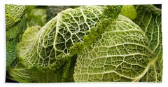 Close-up Of Savoy Cabbages Brassica Beach Towel by Panoramic Images