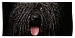 Close Up Portrait Of Puli Dog Isolated On Black Beach Towel by Sergey Taran