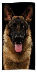 Closeup Portrait Of German Shepherd On Black  Beach Towel by Sergey Taran