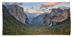 Clouds Over A Valley, Yosemite Valley Beach Sheet by Panoramic Images