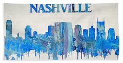 Colorful Nashville Skyline Silhouette Beach Towel by Dan Sproul