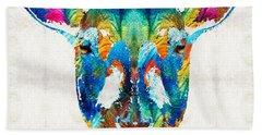 Colorful Sheep Art - Shear Color - By Sharon Cummings Beach Towel by Sharon Cummings