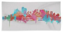 Colorful Sydney Skyline Silhouette Beach Towel by Dan Sproul