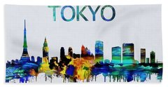 Colorful Tokyo Skyline Silhouette Beach Towel by Dan Sproul