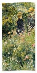 Conversation In A Rose Garden Beach Towel by Pierre Auguste Renoir