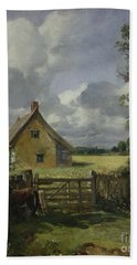 Cottage In A Cornfield Beach Sheet by John Constable