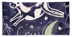Cow Jumped Over The Moon Chalkboard Art Beach Towel by Mindy Sommers