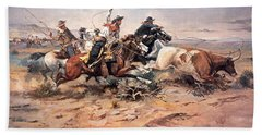 Cowboys Roping A Steer Beach Towel by Charles Marion Russell