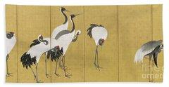 Cranes Beach Towel by Maruyama Okyo