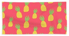 Cute Pineapples Beach Towel by Allyson Johnson