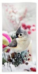 Cute Winter Bird - Tufted Titmouse Beach Towel by Christina Rollo