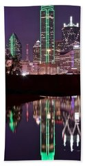 Dallas Lights Beach Sheet by Frozen in Time Fine Art Photography
