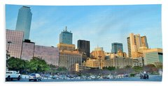 Dallas Skyline Pano Beach Sheet by Frozen in Time Fine Art Photography
