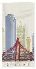 Dallas Skyline Poster Beach Towel by Pablo Romero