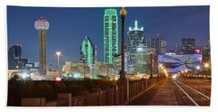 Dallas Street And Lights Beach Sheet by Frozen in Time Fine Art Photography