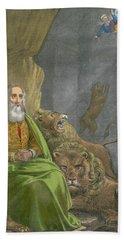 Daniel In The Lions' Den Beach Sheet by Siegfried Detler Bendixen