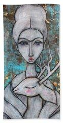 Deer Frida Beach Sheet by Natalie Briney