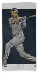 Derek Jeter New York Yankees Art 2 Beach Towel by Joe Hamilton