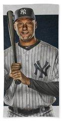 Derek Jeter New York Yankees Art Beach Towel by Joe Hamilton