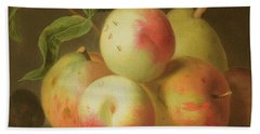 Detail Of Apples On A Shelf Beach Towel by Jakob Bogdany