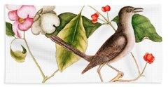Dogwood  Cornus Florida, And Mocking Bird  Beach Towel by Mark Catesby