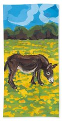 Donkey And Buttercup Field Beach Towel by Sarah Gillard