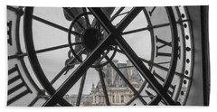 D'orsay Clock Paris Beach Towel by Joan Carroll