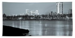 Downtown Tulsa Oklahoma - University Tower View - Black And White Beach Towel by Gregory Ballos