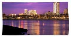 Downtown Tulsa Oklahoma - University Tower View - Purple Skies Beach Towel by Gregory Ballos