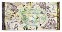 Dragons Of The World Beach Towel by The Dragon Chronicles - Garry Wa