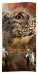 Dream Catcher - Spirit Of The Owl Beach Towel by Carol Cavalaris