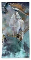Dream Catcher - Spirit Of The White Wolf Beach Towel by Carol Cavalaris