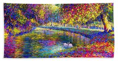 Drifting Beauties, Swans, Colorful Modern Impressionism Beach Sheet by Jane Small