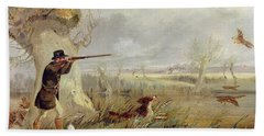 Duck Shooting  Beach Towel by Henry Thomas Alken