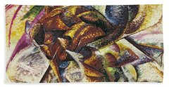 Dynamism Of A Cyclist Beach Sheet by Umberto Boccioni