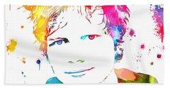Ed Sheeran Paint Splatter Beach Towel by Dan Sproul