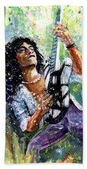 Eddie Van Halen Beach Sheet by Miki De Goodaboom