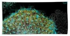 Elegant Peacock W Vintage Scrolls 3 Beach Sheet by Audrey Jeanne Roberts