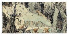 Elves In A Wood Beach Sheet by Arthur Rackham