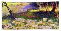 Enchanted By Daisies, Modern Impressionism, Wildflowers, Silver Birch, Aspen Beach Towel by Jane Small