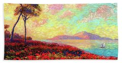 Enchanted By Poppies Beach Sheet by Jane Small