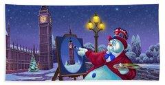English Snowman Beach Towel by Michael Humphries