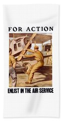 Enlist In The Air Service Beach Towel by War Is Hell Store