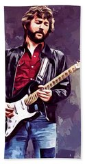 Eric Clapton Painting Beach Towel by Scott Wallace