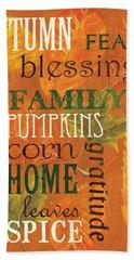 Fall Typography 1 Beach Towel by Debbie DeWitt
